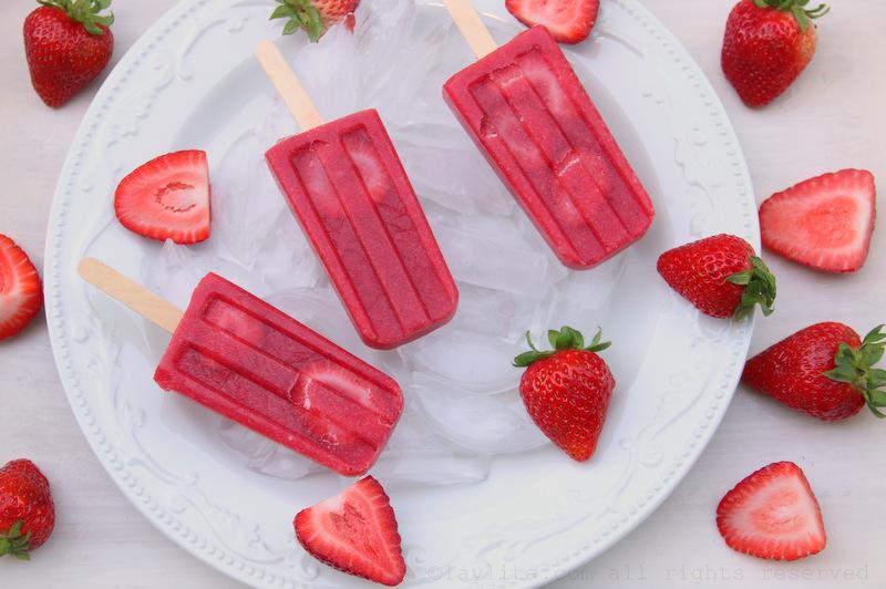 自制草莓冰棒