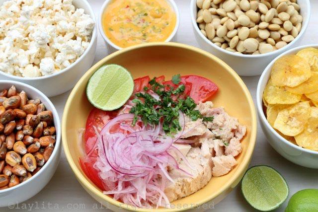 厄瓜多尔柠汁腌金枪鱼的食材