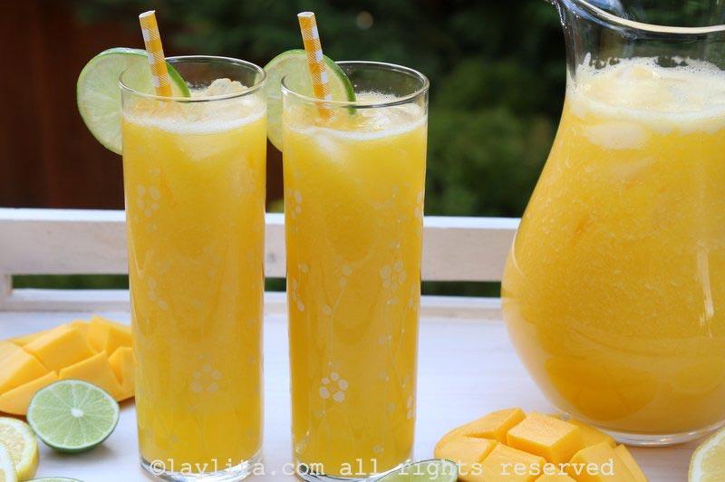 芒果柠檬汁或青柠汁