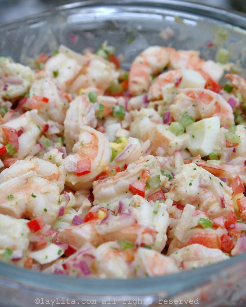 简易的虾沙拉