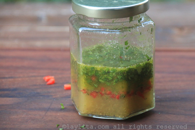 Place all the ingredients for the orange vinaigrette or dressing in a jar