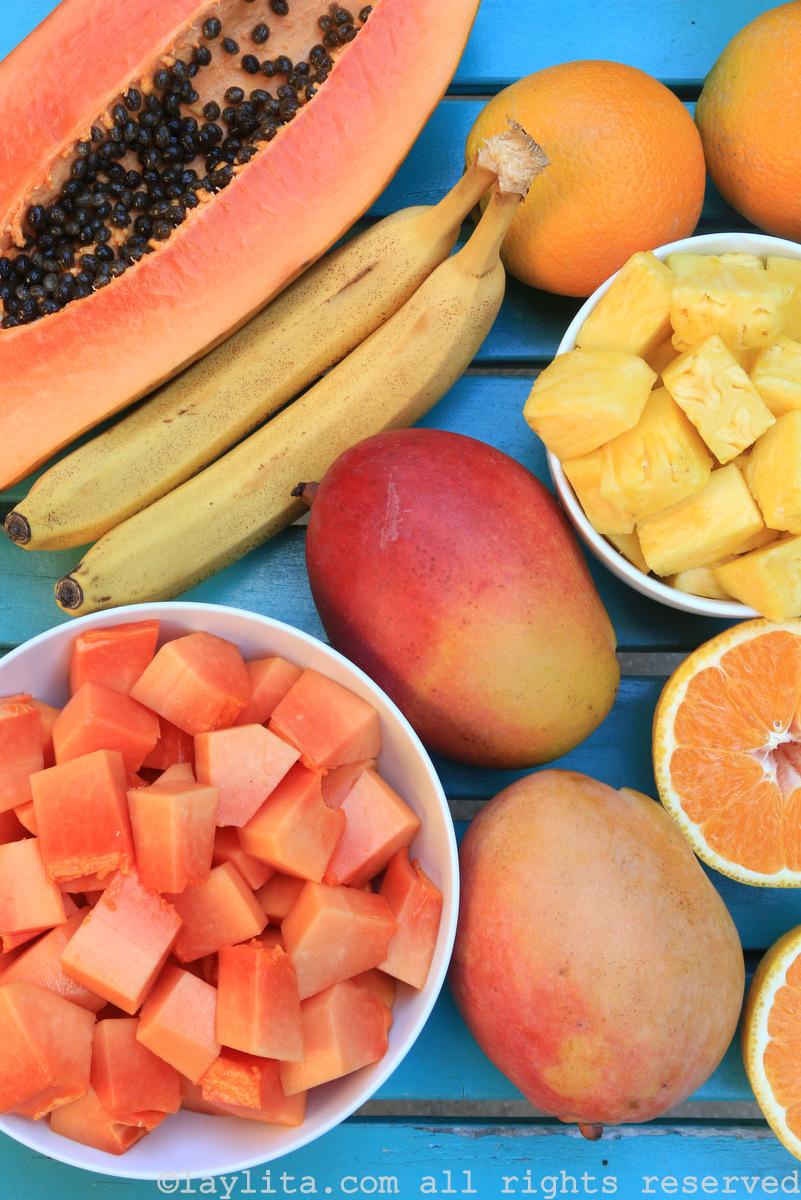 热带冰沙的水果