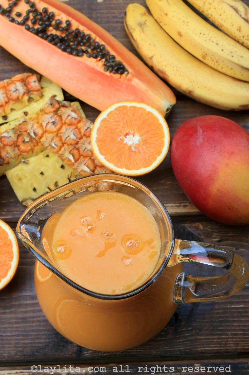 木瓜芒果菠萝香蕉橙子冰沙