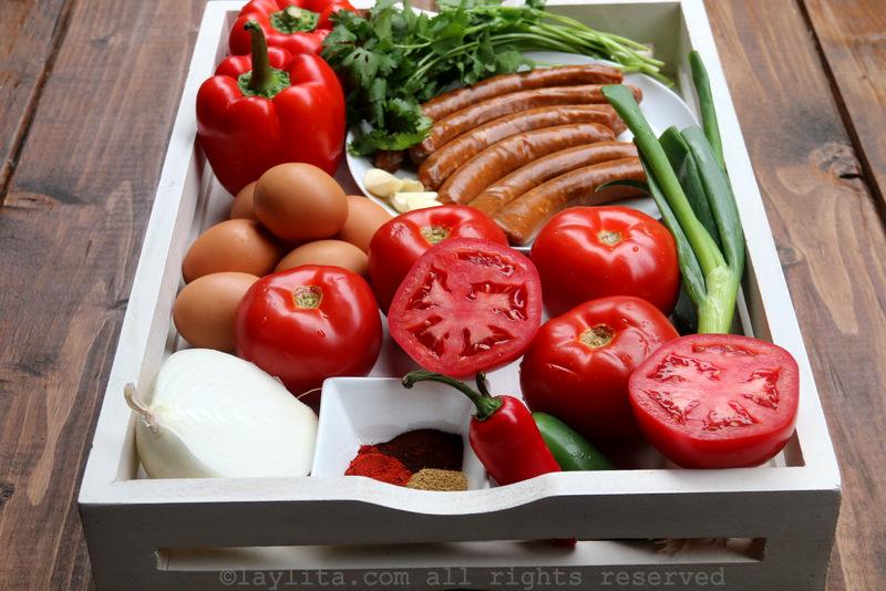 辣北非蛋配香肠或羊肉香辣肠的材料